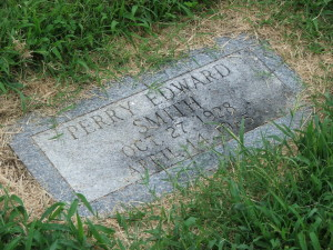 Gravestone of Perry Smith buried next to Dick Hickock, Mt. Muncie Cemetery. The marker was also stolen and was returned to the Kansas Museum of History.