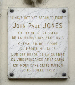 Plaque in front of the  building on the Rue de Tournon, Paris where Jones died.