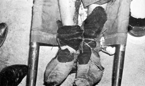 Leather shoes of Che Guevara worn when he was executed. Blood is from the leg wound suffered in combat.