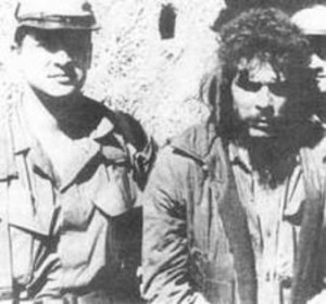 Che and Felix Rodriguez in front of La Higuera schoolhouse, minutes before Che's execution.