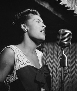 Billie Holiday, performing in the forties.