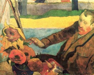Gauguin's painting of Vincent painting sunflowers which caused their final row.
