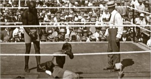 Jack Johnson knocks out Jim Jeffries, July 4, 1910, Reno, Nevada.