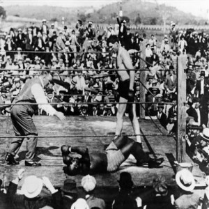 Jess Willard knocks out Jack Johnson in the 26th round, April 5, 1915, Havana, Cuba.