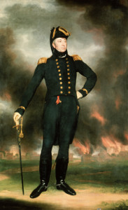 Admiral George Cockburn depicted with the burning Washington, DC