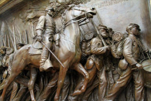 St. Gaudens Panel Commemorating 54th Volunteer Massachusetts Regiment, Monument is situated on the Northeast Corner of the Boston Common