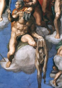 Detail, Sistine Chapel, St. Bartholomew and Likeness of Michelangelo, Vatican City